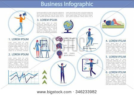Business Entrepreneurial Activity Infographic Set With Cartoon People Characters Making Business And