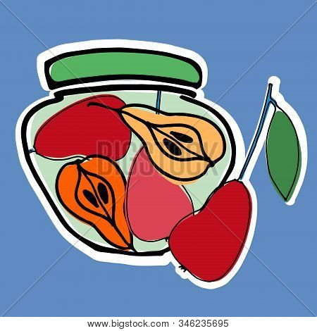Jars With Stewed Pears Vector Illustration. Healthy, Organic Foods, Veganism Theme. Home Canning The