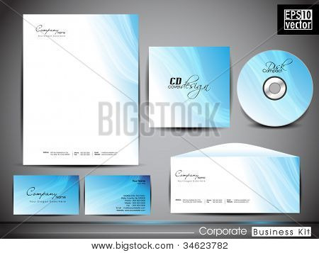 poster of Professional corporate identity kit or business kit with artistic, abstract wave effect for your business includes CD Cover, Business Card, Envelope and Letter Head Designs in EPS 10 format.