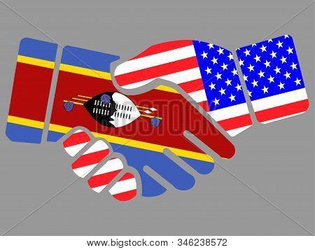 Swaziland Kingdom Of Eswatini And Usa Flags Handshake Vector Illustration Eps 10