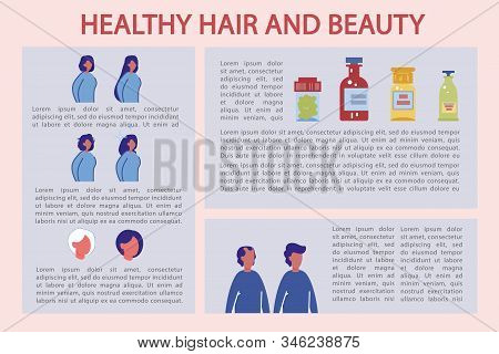 Vitamin Advertising For Healthy Hair And Beauty. Magazine Shows How Taking Pills And Medicines Affec