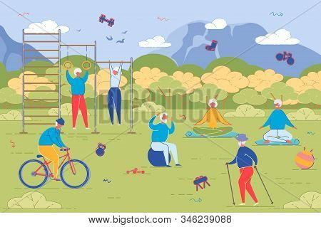 Elderly People Open Air Workout. Senior Men And Women Characters Running, Doing Exercises, Riding Bi