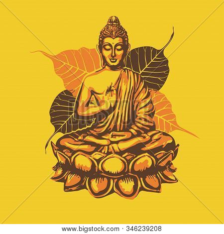 Buddha Sits In The Lotus And Blesses Against The Backdrop Of The Leaves Of The Sacred Buddhist Bodhi