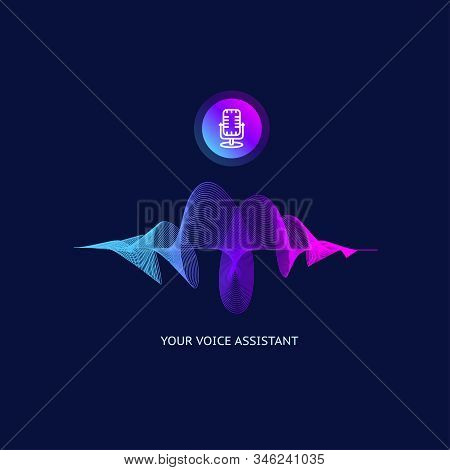 Voice Personal Assistant Which Thin Line Sound Wave And Microphone Intelligent Technology Concept .
