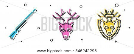 Set Hunting Gun, Deer Head With Antlers And Deer Head With Antlers On Shield Icon. Vector