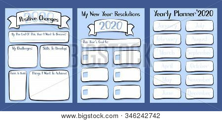 2020 Yearly Planner Set Of Three Printable Sheet. Goal Planning Vector Illustration For Organizer. B