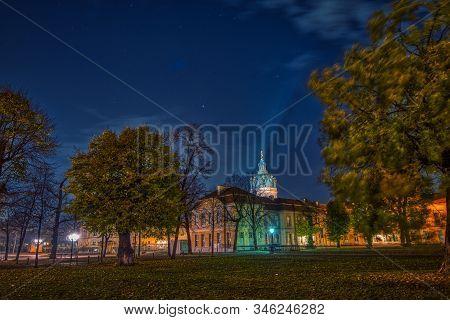 Berlin, Germany - November 10, 2018: The Illuminated Castle Charlottenburg In Berlin