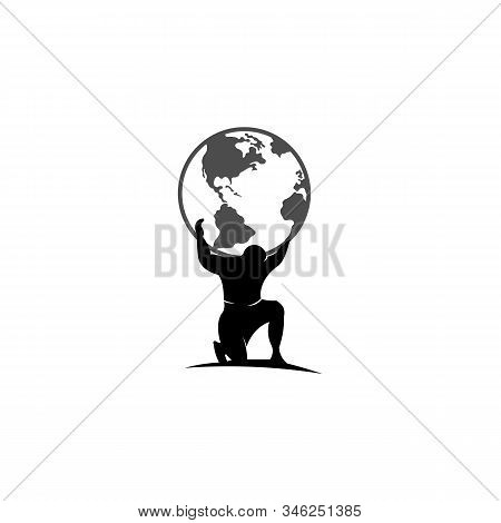 Atlas Holding The World On His Shoulder, Atlas Titan Holding Globe Vector Design