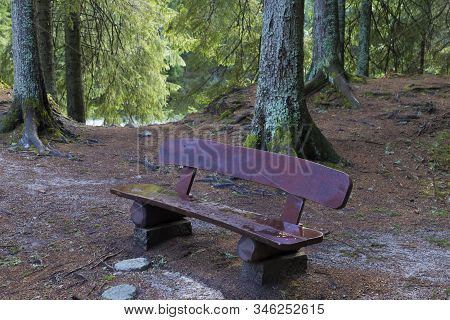 Wooden Bench With The Inscription