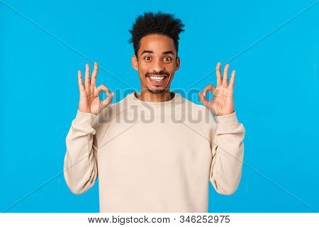Alright, Sounds Good. Handsome Excited Smiling African-american Man With Afro Haircut, Moustache Sho