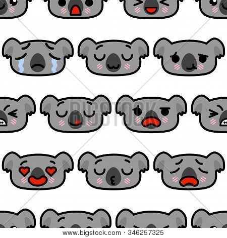 Seamless Pattern With Cute Kawaii Emoji Koalas Vector Cartoon Illustration