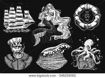 Nautical Adventure Set. Sea Mermaid And Marine Captain, Octopus And Shipping Sail, Old Sailor, Ocean