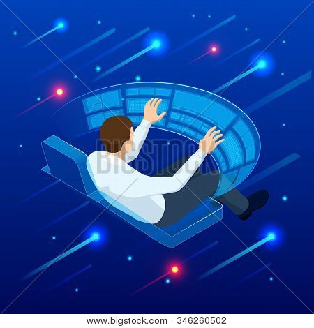 Isometric Man Touching Virtual Interface. Creating Innovative Technologies. Businessman Touching An