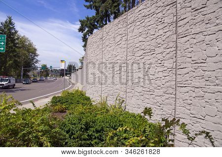 Protection Of Residents Against Noise Generated By Car Traffic. Concrete Acoustic Barriers Decorated