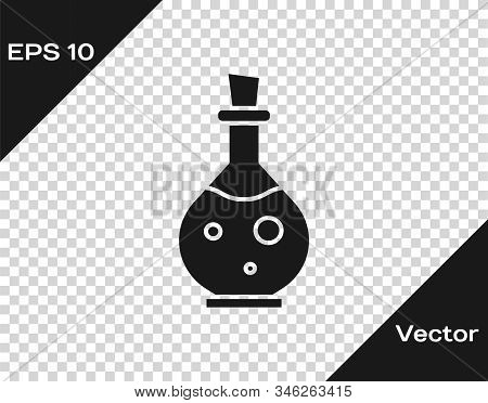 Grey Glass Bottle With Magic Elixir Icon Isolated On Transparent Background. Computer Game Asset. Ve