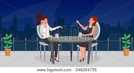 Women Relax After Work Flat Illustration. Elegant Ladies, Businesswomen Having Supper At Restaurant