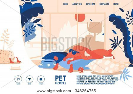 Vector Concept Banner For Dog Hotel Accomodation. Pet Friendly Interior Room With Happy Puppy On Pil