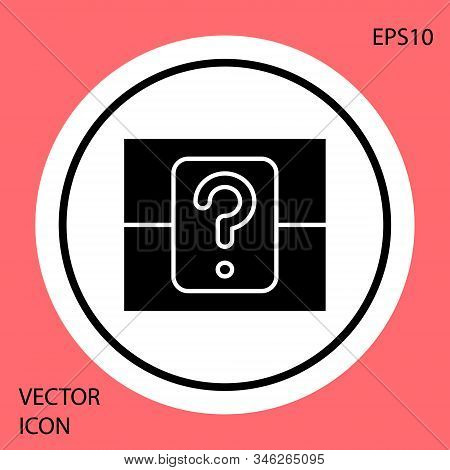 Black Mystery Box Or Random Loot Box For Games Icon Isolated On Red Background. Question Box. White