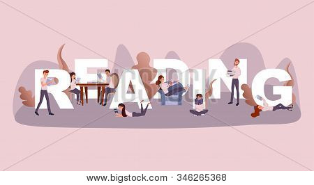 Reading Time Word Concept Banner. Couple Enjoying Novel In Cafe Cartoon Characters. Intellectual Peo