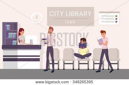 City Library Visitors Flat Vector Illustration. Bearded Man Borrowing Books Cartoon Character. Stude