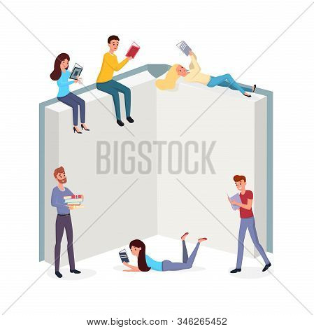 Smart People Reading Books Flat Illustration. Men And Women Immersed In Interesting Novels Cartoon C