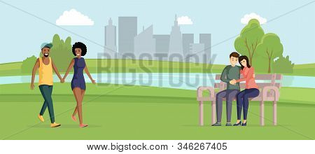 Happy Couples Outdoors Flat Vector Illustration. Cheerful African American And Caucasian Pairs Carto