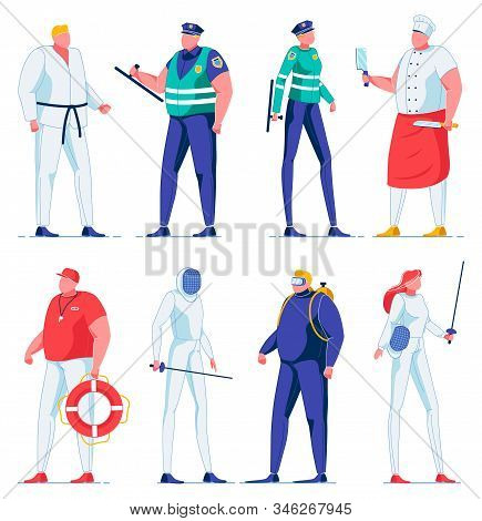 Swordsman And Woman, Fencing Sport, Female And Male Police Officers Flat Cartoon Vector Illustration