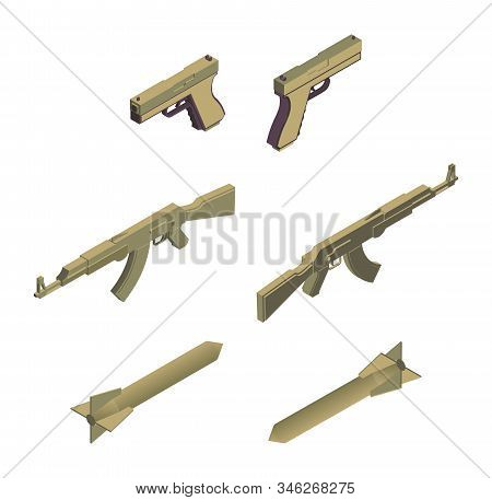 Military Weapons Isometric Vector Illustrations Set. Modern Army Weaponry, Ammunition, Armed Conflic