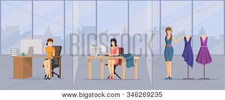 Tailoring Studio, Atelier Flat Vector Illustration. Young Fashion Company Workers, Sewing Workshop S