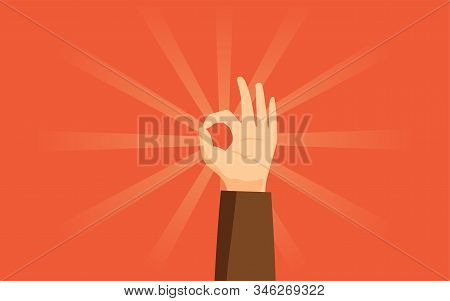 Ok Gesture Flat Vector Illustration. Human Hand Showing Modern Agreement Sign Isolated On Orange Bac