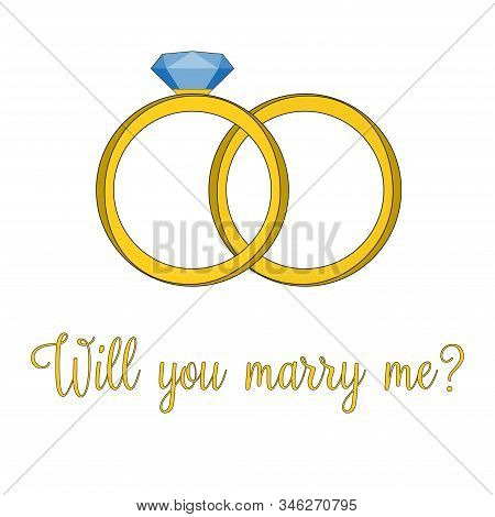 A Vector Illustration Of A Shiny Jeweled Ring. Diamond Ring Icon Illustration. Expensive Rich Jewele