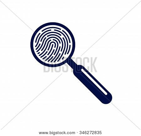 Finger Print With Magnifying Glass Vector Simple Logo Or Icon, Incognito Man Concept, Unidentified P