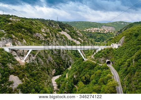 Panoramic View Of Rjecina Bridge Over Fiumara River Between Two Green Mountains In Rijeka, Croatia.