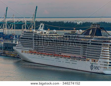 Miami, Florida - November 25, 2017: The Sail Away Out Of Miami Is A Fairly Long One, But Has Beautif