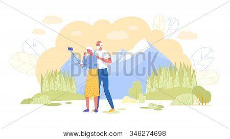 Loving Elderly Couple Making Selfie On Mountain Landscape Background Saving Sweet Life Moments Memor