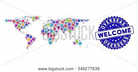 Color Overseas Map Collage Of Stars, And Distress Rounded Blue Welcome Stamp Seal. Abstract Territor