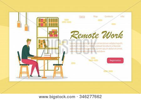 Remote Work And Outsourcing Banner With Man Cartoon Character, Freelancer Working Effectively At Hom
