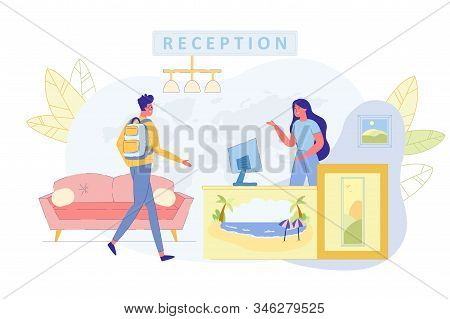 Vacation Travel On Tropical Resort Flat Vector Concept. Traveler, Male Tourist Went In Hotel Or Trav