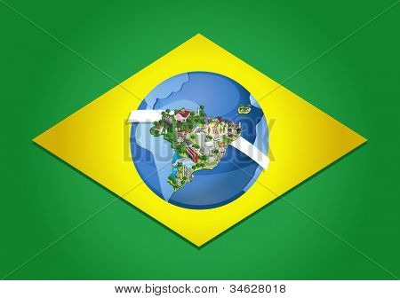 Flag of Brazil with world map. Cities of Brazil.