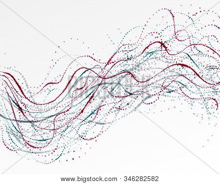 Dotted Particle Array Flowing Vector Abstract Background, Life Forms Bio Theme Microscopic Design, D
