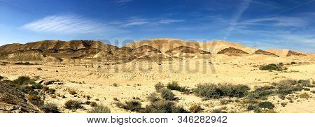 Panorama Of The Erosion Crater Makhtesh Gadol In The Negev Desert, Israel