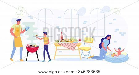 Family On Weekend Preparing Barbecue And Chatting. Mom Plays With Her Daughter, Who Frolics In Infla