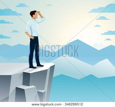 Businessman Looking For Opportunities Standing On Top Peak Of Mountain Business Concept Vector Illus