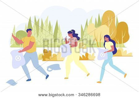 Friends Going To Collect Rubbish And Litter In Nature Flat Cartoon Vector Illustration. Man And Wome
