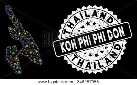 Bright Mesh Koh Phi Don Map With Glow Effect, And Seal Stamp. Wire Frame Triangular Koh Phi Don Map