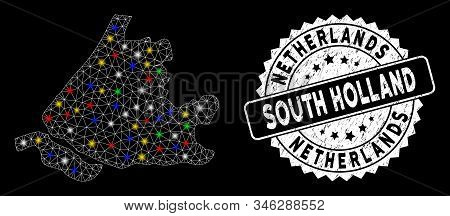 Bright Mesh South Holland Map With Glare Effect, And Seal Stamp. Wire Frame Polygonal South Holland