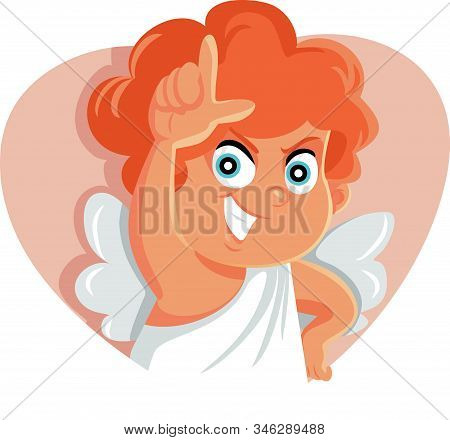 Funny Cupid Making Loser Sign For Bad Luck In Love