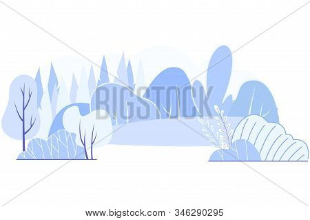 Vector Gloomy Geographical Landscape, Cartoon. Forest Stands Form Rows Trees And Shrubs Among Arable
