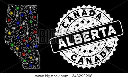 Bright Mesh Alberta Province Map With Glare Effect, And Seal Stamp. Wire Carcass Polygonal Alberta P