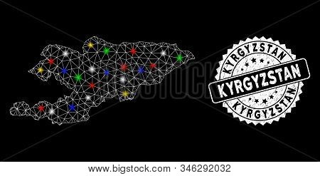 Bright Mesh Kyrgyzstan Map With Glow Effect, And Seal Stamp. Wire Carcass Polygonal Kyrgyzstan Map M